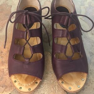 Anthropologie burgundy wedge open toe shoes